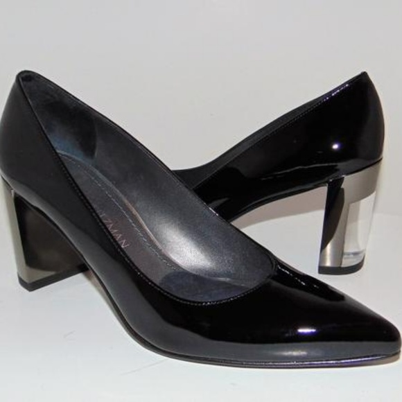 801819cc5a Stuart Weitzman Shoes | Black Pointy Toe Lucite Heel Pump | Poshmark